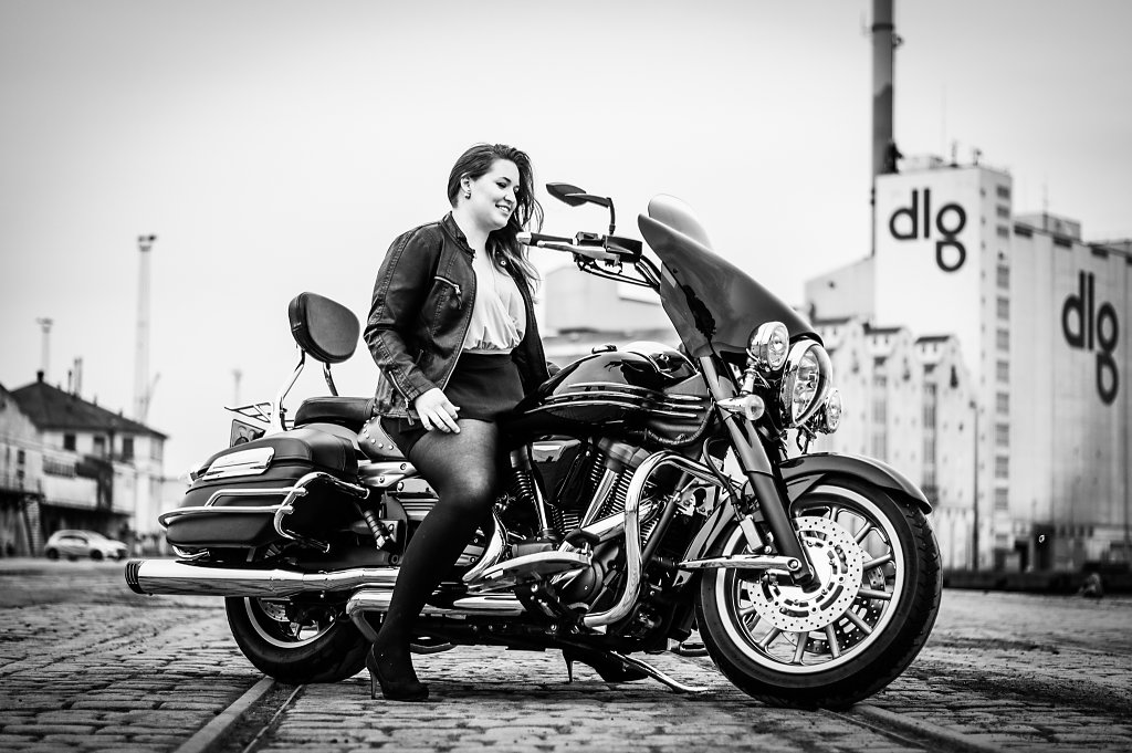 Model and Motorcycle